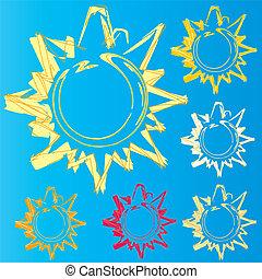 soleil, étude, ensemble, logo