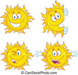 soleil, 3, ensemble, caractères, collection