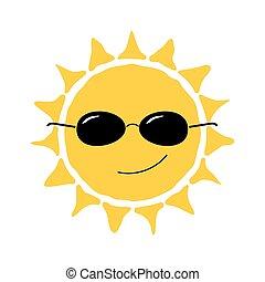 soleil, amusement, heureux, icône