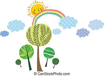 soleil, arbre, vue