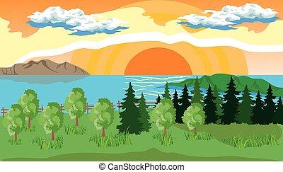 soleil, arbres, lac, paysage