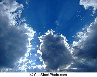 soleil, arrière-plan., nuages, ciel, ciel