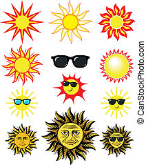 soleil, art, dessin animé, agrafe