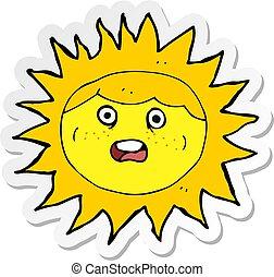 soleil, autocollant, caractère, dessin animé