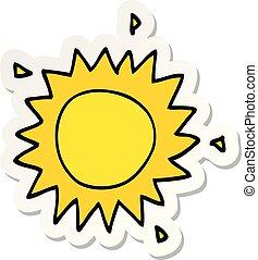 soleil, autocollant, dessin animé