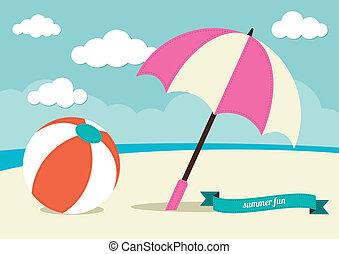soleil, balle, parapluie plage