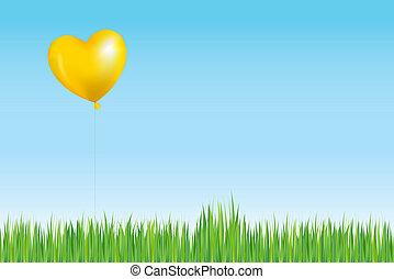 soleil, balloon, herbe, aimer, au-dessus