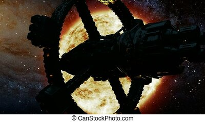 soleil, bateau, étoile, espace