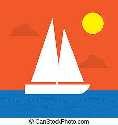 soleil, bateau voile