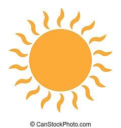 soleil, blanc, icône, arrière-plan.