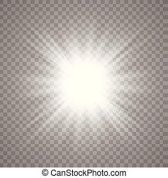soleil, blanc, vecteur, briller