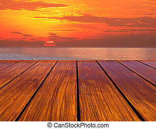 soleil, bois, terrasse, perspective