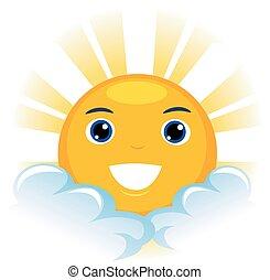 soleil brille, mascotte