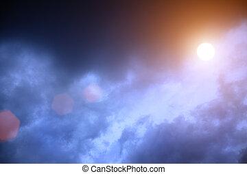 soleil brille, par, dramatique, bleu, nuages