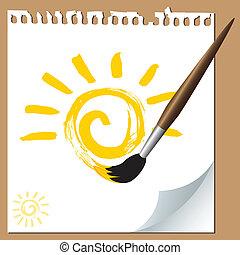 soleil, brosse, peint