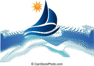 soleil, cadre, vagues océan, plage, bateau