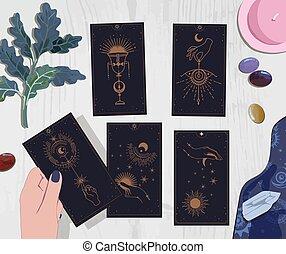 soleil, caissier, mystique, boisson, guide, attente, séance, fortune, tarot, plat, cartes, ésotérique, simple, or, lune, style., rose, mystérieux, mains, cartes, ensemble café, boho