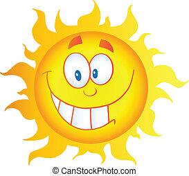 soleil, caractère, dessin animé, jaune