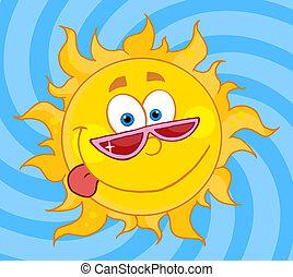 soleil, caractère, dessin animé, mascotte
