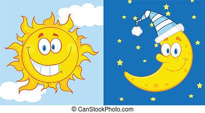 soleil, caractères, lune