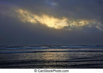 soleil, casse, par, nuages