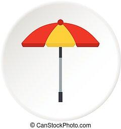 soleil, cercle, parapluie, icône