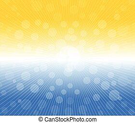 soleil, chaud, fond, lumières