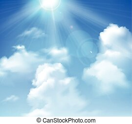 soleil, ciel, briller