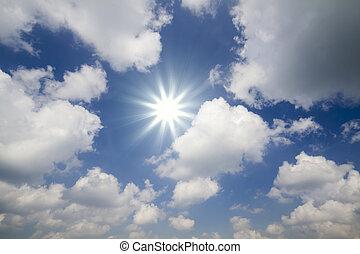 soleil, ciel clair, nuageux