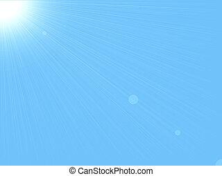 soleil, &, ciel, fond