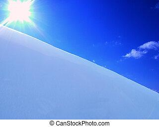 soleil, ciel, neige