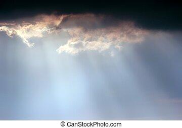 soleil, ciel, rayons