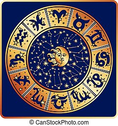soleil, circle., lune, signe, zodiaque, constellations, horoscope