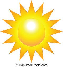soleil, clair, brûlé