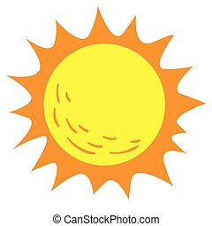 soleil, clair, dessin animé