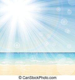 soleil, clair, paysage, océan