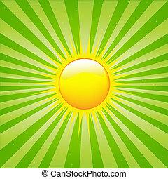 soleil, clair, sunburst, rayons