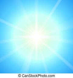 soleil, clair, vecteur, template.