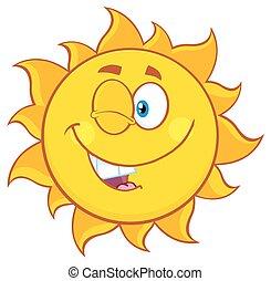 soleil, cligner, dessin animé, caractère