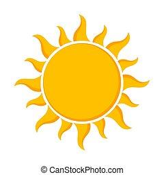 soleil, -, conception, plat, icône