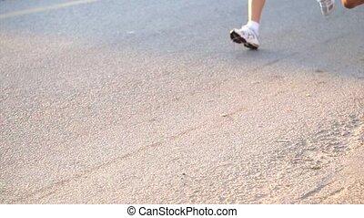 soleil, coureurs, marathon, matin