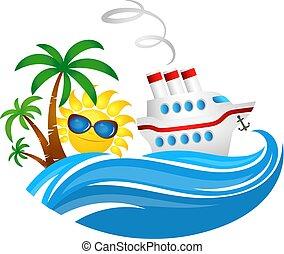soleil, croisière bateau, vague