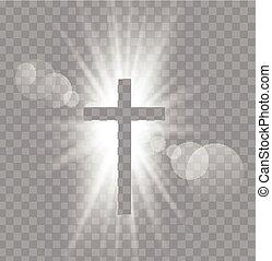soleil, croix, rayons, trois, religioush