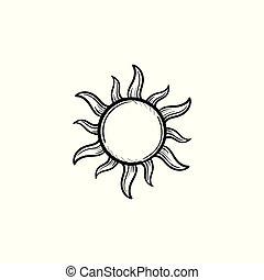 soleil, croquis, main, icon., dessiné