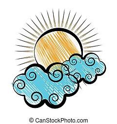 soleil, croquis, nuages
