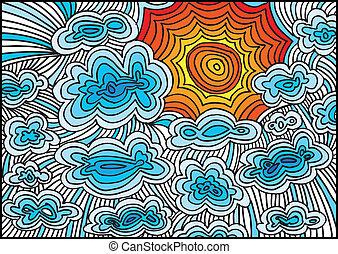 soleil, croquis, vecteur, illustration, clouds.