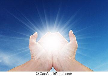 soleil, dans, ton, mains