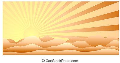 soleil, derrière, montagnes