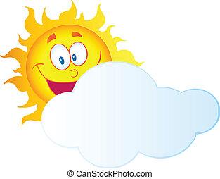 soleil, derrière, nuage, dissimulation