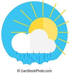 soleil, derrière, nuage, icône